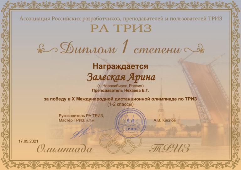 X Международная дистанционная олимпиада по ТРИЗ (1-2 классы) победитель Залеская Арина