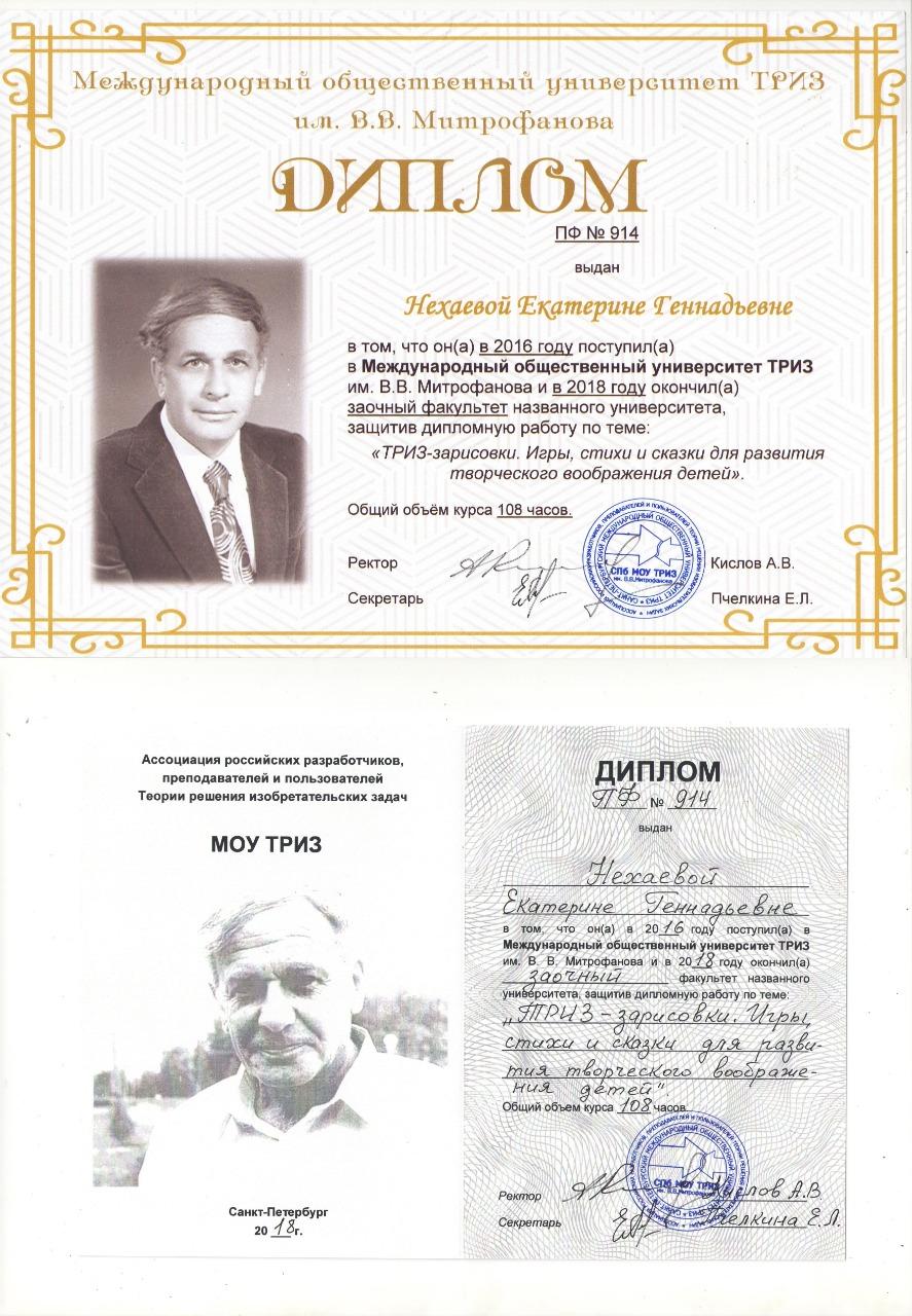 Диплом МОУ ТРИЗ Нехаевой Екатерины Геннадьевны