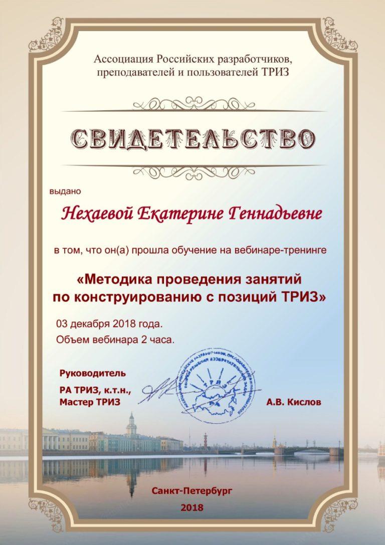 Вебинар-тренинг Российской Ассоциации ТРИЗ «Методика проведения занятий по конструированию с позиции ТРИЗ».