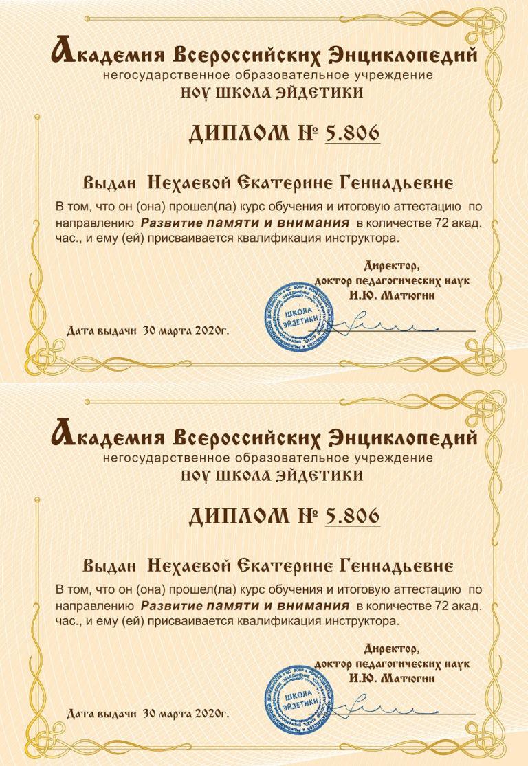 Диплом Незаевой Екатерины